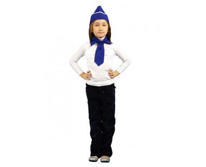 Детский костюм стюардессы: пилотка, галстук, воротник