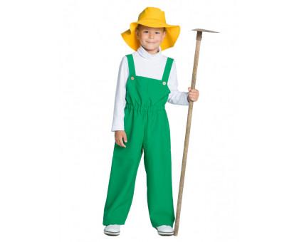 Детский костюм садовника: комбинезон и панамка