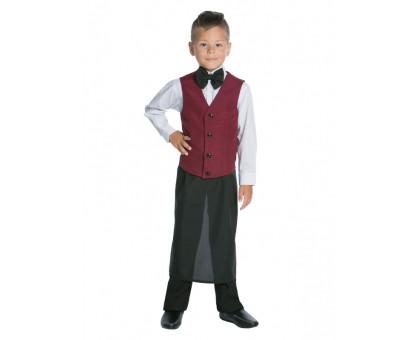Детский карнавальный костюм официанта: фартук, жилет и бабочка