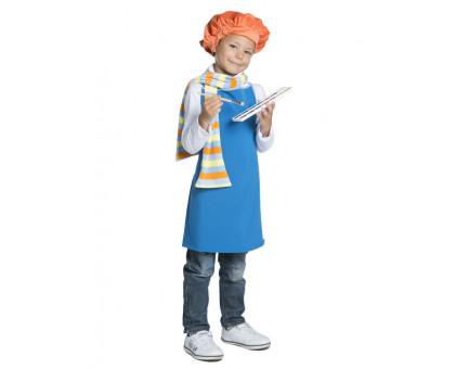 Детский карнавальный костюм художника: фартук, берет, шарф
