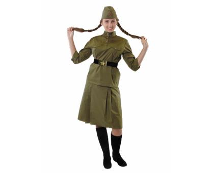 Военный костюм для девушек: гимнастерка с юбкой взрослая в комплекте с пилоткой и ремнем (100 % хлопок)