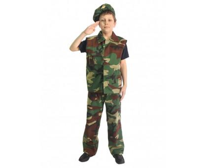 Детский военный камуфляжный костюм: жилет, брюки, берет