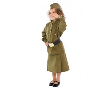 Военный костюм для девочки: гимнастерка, юбка, пилотка, ремень