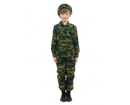 Детский камуфляжный костюм Пограничник: куртка, брюки и берет