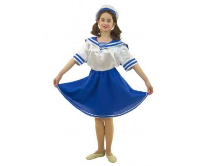 Костюм морячка для девочки: рубашка с гюйсом, юбка и берет