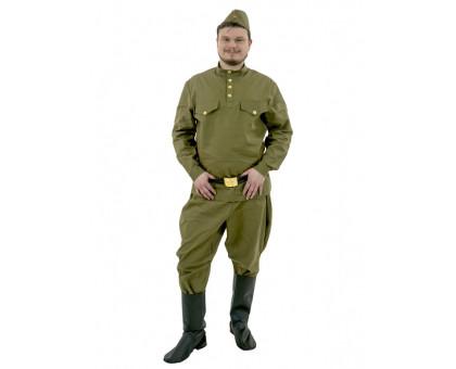 Гимнастерка с брюками-галифе взрослая в комплекте с пилоткой и ремнем (100 % хлопок)