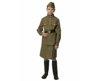 Военный костюм для девочки: гимнастерка, юбка, пилотка, ремень (100 % хлопок)