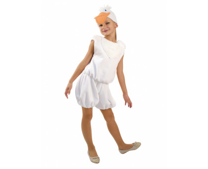 Костюм гусенка белый, комбинезон и шапочка с клювом и хохолком