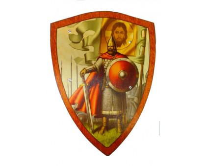 Деревянные щиты с изображением русских богатырей и князей