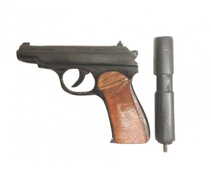 Деревянный макет пистолета Макарова с глушителем