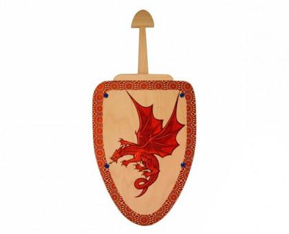 Деревянный меч и щит с изображением дракона