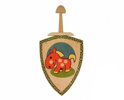Деревянный меч и щит с изображеним лошадки