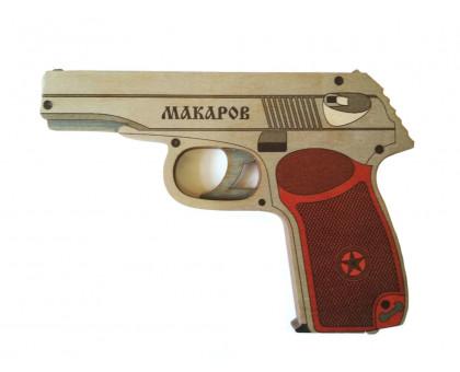 Резинкострел-пистолет Макарова в комплекте с резинками (5 шт.)